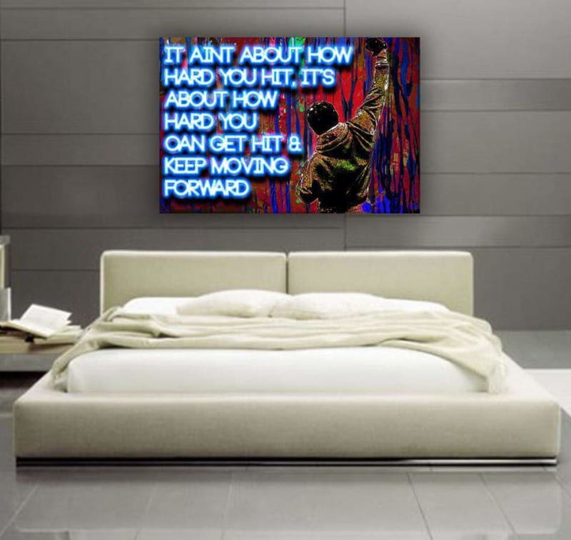 "Rocky ""Hit' - Framed Canvas Painting Wall Art Office Decor, large modern pop artwork for home or office, Entrepreneur Inspirational and motivational Quotes on Canvas great for man cave or home. Perfect for Artwork Addicts. Made in USA, FREE Shipping."