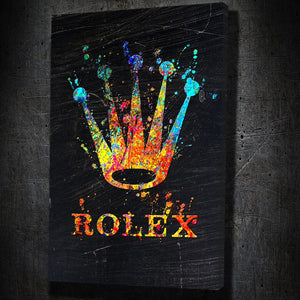 Rolex Paint - Framed Canvas Painting Wall Art Office Decor, large modern pop artwork for home or office, Entrepreneur Inspirational and motivational Quotes on Canvas great for man cave or home. Perfect for Artwork Addicts. Made in USA, FREE Shipping.