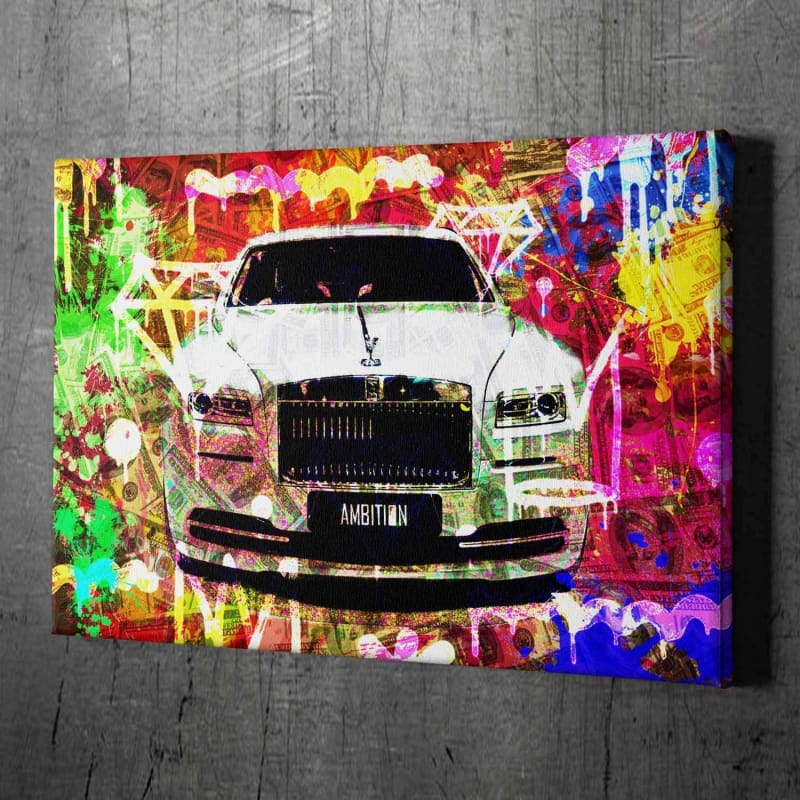 Rolls Royce Ambition - Framed Canvas Painting Wall Art Office Decor, large modern pop artwork for home or office, Entrepreneur Inspirational and motivational Quotes on Canvas great for man cave or home. Perfect for Artwork Addicts. Made in USA, FREE Shipping.