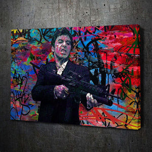 Scarface Graffiti - Framed Canvas Painting Wall Art Office Decor, large modern pop artwork for home or office, Entrepreneur Inspirational and motivational Quotes on Canvas great for man cave or home. Perfect for Artwork Addicts. Made in USA, FREE Shipping.