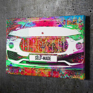 Self-Made Maserati - Framed Canvas Painting Wall Art Office Decor, large modern pop artwork for home or office, Entrepreneur Inspirational and motivational Quotes on Canvas great for man cave or home. Perfect for Artwork Addicts. Made in USA, FREE Shipping.