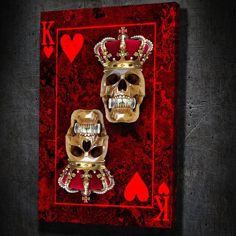 Skull King of Hearts - Framed Canvas Painting Wall Art Office Decor, large modern pop artwork for home or office, Entrepreneur Inspirational and motivational Quotes on Canvas great for man cave or home. Perfect for Artwork Addicts. Made in USA, FREE Shipping.