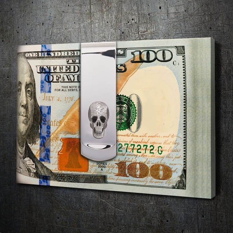 Skull Money Clip - Framed Canvas Painting Wall Art Office Decor, large modern pop artwork for home or office, Entrepreneur Inspirational and motivational Quotes on Canvas great for man cave or home. Perfect for Artwork Addicts. Made in USA, FREE Shipping.