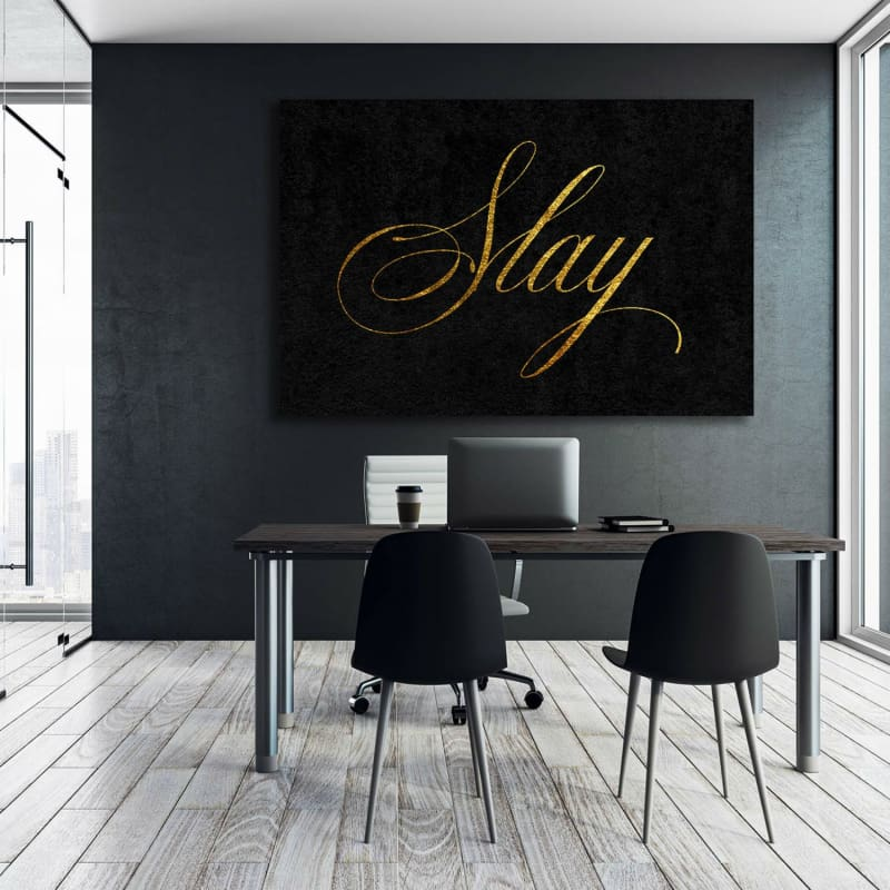 Slay - Framed Canvas Painting Wall Art Office Decor, large modern pop artwork for home or office, Entrepreneur Inspirational and motivational Quotes on Canvas great for man cave or home. Perfect for Artwork Addicts. Made in USA, FREE Shipping.
