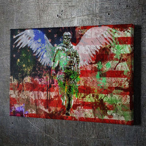 Soldier Angel - Framed Canvas Painting Wall Art Office Decor, large modern pop artwork for home or office, Entrepreneur Inspirational and motivational Quotes on Canvas great for man cave or home. Perfect for Artwork Addicts. Made in USA, FREE Shipping.