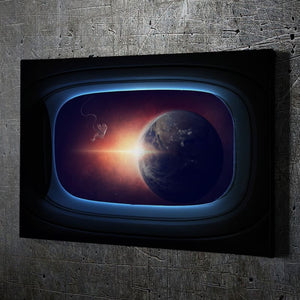 Space Earth View Wall Art - Framed Canvas Painting Wall Art Office Decor, large modern pop artwork for home or office, Entrepreneur Inspirational and motivational Quotes on Canvas great for man cave or home. Perfect for Artwork Addicts. Made in USA, FREE Shipping.