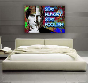 "Steve Jobs ""Stay Hungry, Stay Foolish"" - Framed Canvas Painting Wall Art Office Decor, large modern pop artwork for home or office, Entrepreneur Inspirational and motivational Quotes on Canvas great for man cave or home. Perfect for Artwork Addicts. Made in USA, FREE Shipping."