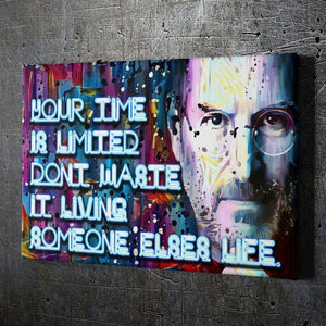 "Steve Jobs ""Time"" - Framed Canvas Painting Wall Art Office Decor, large modern pop artwork for home or office, Entrepreneur Inspirational and motivational Quotes on Canvas great for man cave or home. Perfect for Artwork Addicts. Made in USA, FREE Shipping."