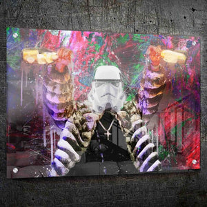 Stormtrooper Poppin Bottles - Framed Canvas Painting Wall Art Office Decor, large modern pop artwork for home or office, Entrepreneur Inspirational and motivational Quotes on Canvas great for man cave or home. Perfect for Artwork Addicts. Made in USA, FREE Shipping.