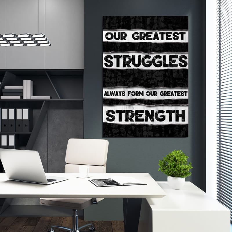 Strength - Framed Canvas Painting Wall Art Office Decor, large modern pop artwork for home or office, Entrepreneur Inspirational and motivational Quotes on Canvas great for man cave or home. Perfect for Artwork Addicts. Made in USA, FREE Shipping.