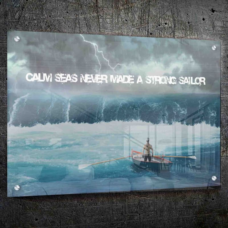 Strong Sailor Wall Art - Framed Canvas Painting Wall Art Office Decor, large modern pop artwork for home or office, Entrepreneur Inspirational and motivational Quotes on Canvas great for man cave or home. Perfect for Artwork Addicts. Made in USA, FREE Shipping.