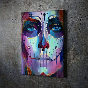 Sugar Skull Ariel - Framed Canvas Painting Wall Art Office Decor, large modern pop artwork for home or office, Entrepreneur Inspirational and motivational Quotes on Canvas great for man cave or home. Perfect for Artwork Addicts. Made in USA, FREE Shipping.