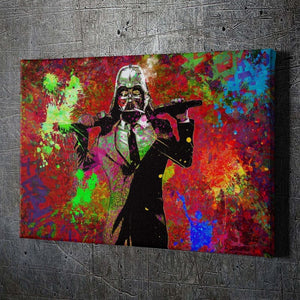 Suited Darth Vader - Framed Canvas Painting Wall Art Office Decor, large modern pop artwork for home or office, Entrepreneur Inspirational and motivational Quotes on Canvas great for man cave or home. Perfect for Artwork Addicts. Made in USA, FREE Shipping.