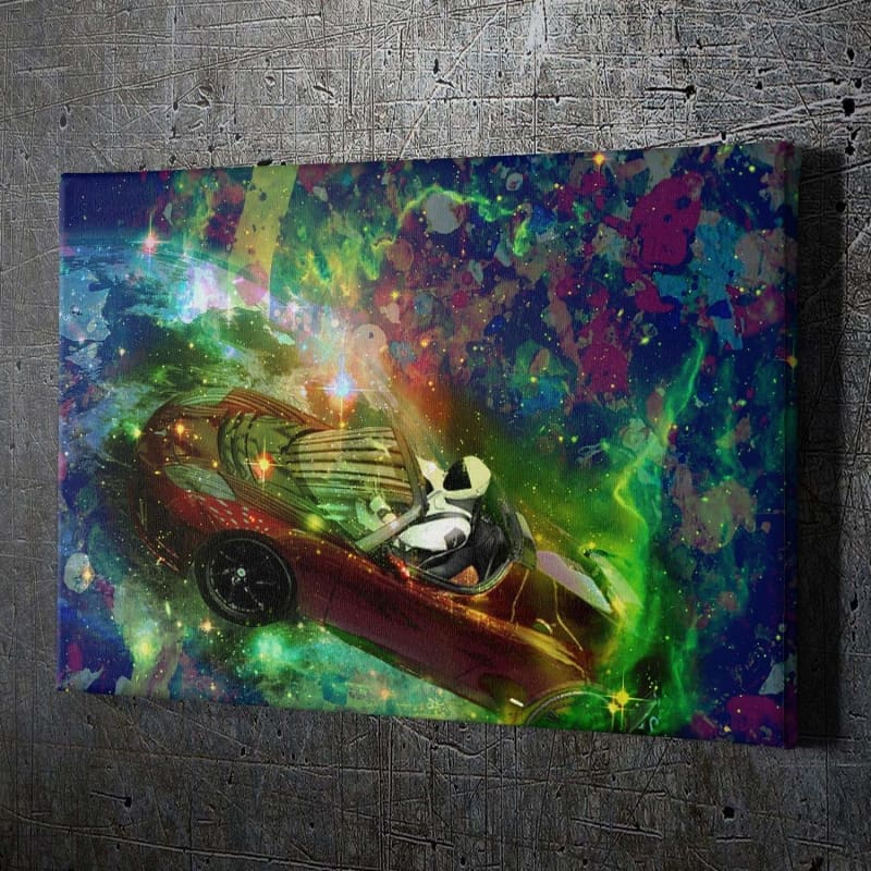 Tesla Starman - Framed Canvas Painting Wall Art Office Decor, large modern pop artwork for home or office, Entrepreneur Inspirational and motivational Quotes on Canvas great for man cave or home. Perfect for Artwork Addicts. Made in USA, FREE Shipping.