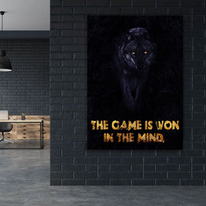 The Game Is Won - Framed Canvas Painting Wall Art Office Decor, large modern pop artwork for home or office, Entrepreneur Inspirational and motivational Quotes on Canvas great for man cave or home. Perfect for Artwork Addicts. Made in USA, FREE Shipping.