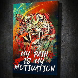 Tiger Growl Pain Quote Canvas Art Portrait