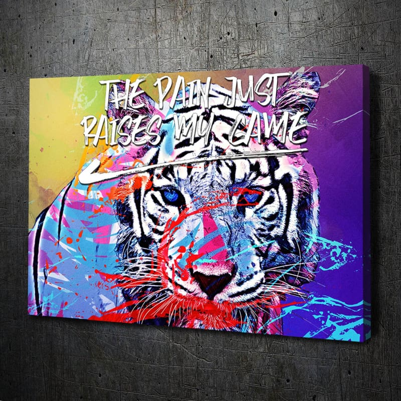 Tiger Splatter Pain Quote Canvas Art Landscape
