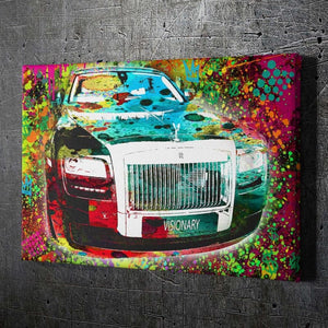 VISIONARY Rolls Royce - Framed Canvas Painting Wall Art Office Decor, large modern pop artwork for home or office, Entrepreneur Inspirational and motivational Quotes on Canvas great for man cave or home. Perfect for Artwork Addicts. Made in USA, FREE Shipping.