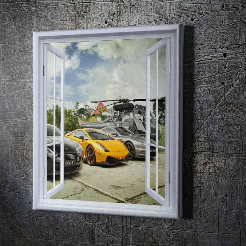 Window Goals - Framed Canvas Painting Wall Art Office Decor, large modern pop artwork for home or office, Entrepreneur Inspirational and motivational Quotes on Canvas great for man cave or home. Perfect for Artwork Addicts. Made in USA, FREE Shipping.