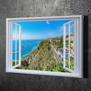 Window Ocean View - Framed Canvas Painting Wall Art Office Decor, large modern pop artwork for home or office, Entrepreneur Inspirational and motivational Quotes on Canvas great for man cave or home. Perfect for Artwork Addicts. Made in USA, FREE Shipping.