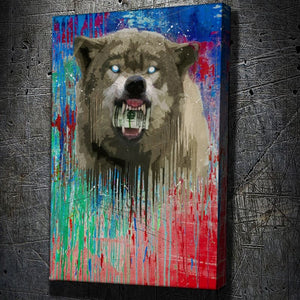 Wolf Drip - Framed Canvas Painting Wall Art Office Decor, large modern pop artwork for home or office, Entrepreneur Inspirational and motivational Quotes on Canvas great for man cave or home. Perfect for Artwork Addicts. Made in USA, FREE Shipping.