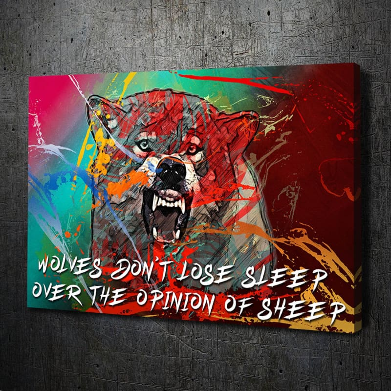Wolf Growling Paint Splatter Sheep Quote Canvas Art Landscape