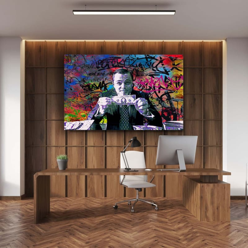 Wolf of Wall Street Graffiti - Framed Canvas Painting Wall Art Office Decor, large modern pop artwork for home or office, Entrepreneur Inspirational and motivational Quotes on Canvas great for man cave or home. Perfect for Artwork Addicts. Made in USA, FREE Shipping.