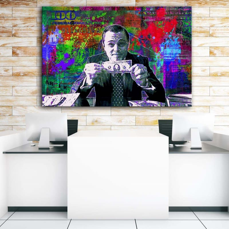 Wolf of Wall Street - Framed Canvas Painting Wall Art Office Decor, large modern pop artwork for home or office, Entrepreneur Inspirational and motivational Quotes on Canvas great for man cave or home. Perfect for Artwork Addicts. Made in USA, FREE Shipping.