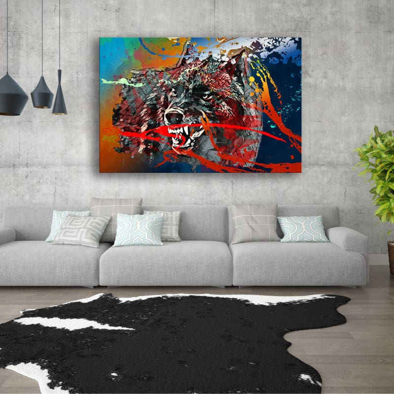 Wolf Paint Splatter - Framed Canvas Painting Wall Art Office Decor, large modern pop artwork for home or office, Entrepreneur Inspirational and motivational Quotes on Canvas great for man cave or home. Perfect for Artwork Addicts. Made in USA, FREE Shipping.