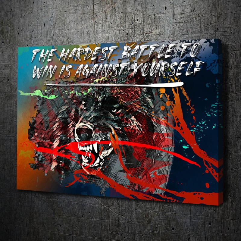 Wolf Paint Splatter Battle Quote Canvas Art Landscape