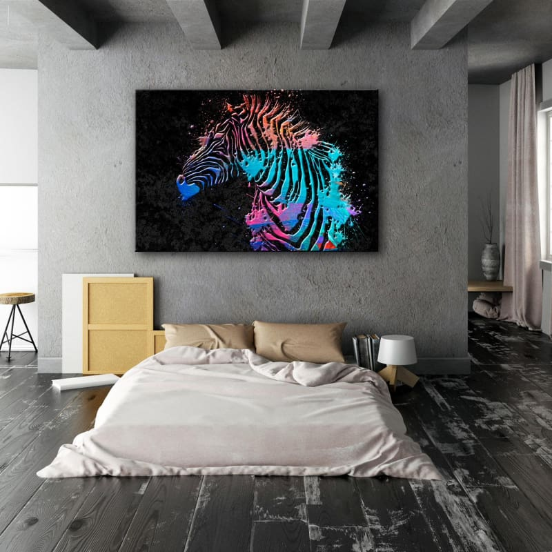 Zebra Paint Splatter - Framed Canvas Painting Wall Art Office Decor, large modern pop artwork for home or office, Entrepreneur Inspirational and motivational Quotes on Canvas great for man cave or home. Perfect for Artwork Addicts. Made in USA, FREE Shipping.