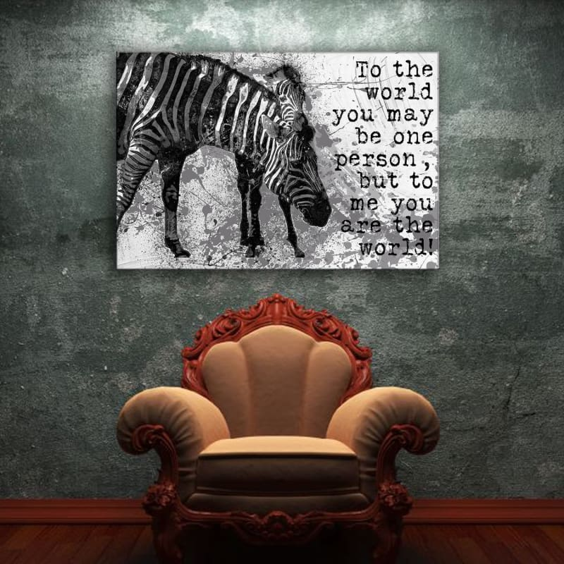 Zebra You Are the World Quote - Framed Canvas Painting Wall Art Office Decor, large modern pop artwork for home or office, Entrepreneur Inspirational and motivational Quotes on Canvas great for man cave or home. Perfect for Artwork Addicts. Made in USA, FREE Shipping.