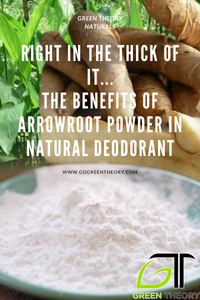 "image of abowl of arrowroot powder with cut roots in the background. Text reading ""right in the thick of it...the benefits of arrowroot powder in natural deodorant"""