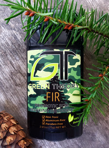 Fir probiotic scent masking deodorant front with fir cone and needles