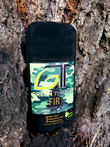 Fir probiotic scent masking deodorant front packaging in bark of tree