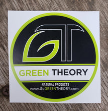 Green Theory black vinyl sticker on wood texture