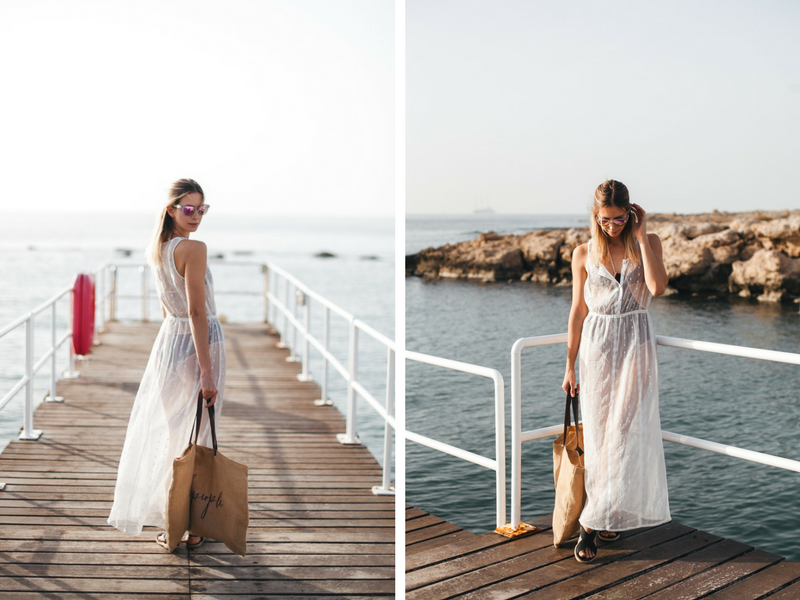 white flowy see through beach dress