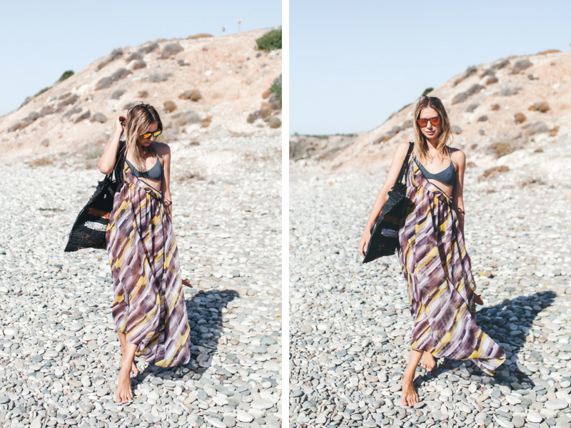 beach outfit in the shades of black, gray and orange