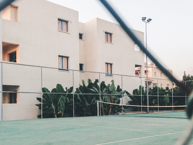 location scouting for a tennis court shoot