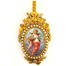 Load image into Gallery viewer, Antique French 19th century 18k yellow gold brooch; pendant; enamel on copper miniature portrait of a lady and cherub, birds, art, artwork; pearls and arrows