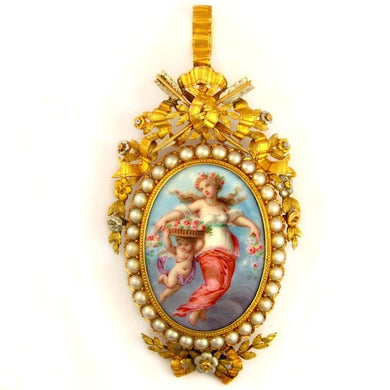 Antique French 19th century 18k yellow gold brooch; pendant; enamel on copper miniature portrait of a lady and cherub, birds, art, artwork; pearls and arrows