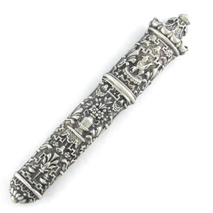 Ornate Antique French 800 Silver Repousse Chinoiserie Needle Case Sewing Etui