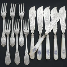 Load image into Gallery viewer, 12pc French Sterling Silver Mother of Pearl Fish Fork & Knife Set, Rare Engraved Sea Life, Flatware Cutlery