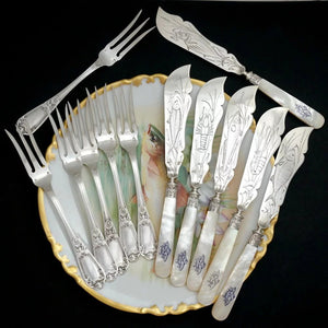 12pc French Sterling Silver Mother of Pearl Fish Fork & Knife Set, Rare Engraved Sea Life, Flatware Cutlery