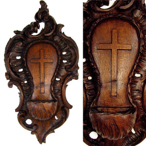 Antique Black Forest Hand Carved Wood Holy Water Font, Stoup
