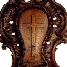 Load image into Gallery viewer, Antique Black Forest Hand Carved Wood Holy Water Font, Stoup