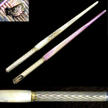 Load image into Gallery viewer, Antique French Silver & Mother of Pearl Writing Calligraphy Set