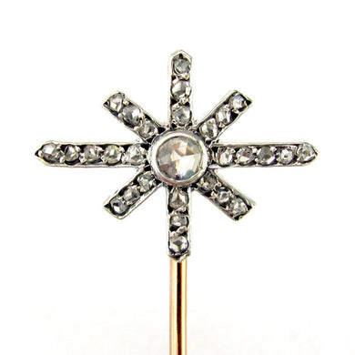 antique victorian french 18k yellow gold platinum diamond stick pin brooch, antique jewelry