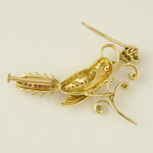 14K Yellow Gold Bird Flower Brooch | Diamond Ruby Sapphire Emerald 9.2g | Vintage Jewelry Pin