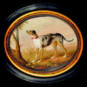 Rare Antique French Hand Painted Miniature Portrait Painting of a Hound Dog